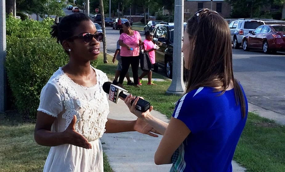 Abena May speaks to Fox 6 News about non-violence pledge 7-30-15
